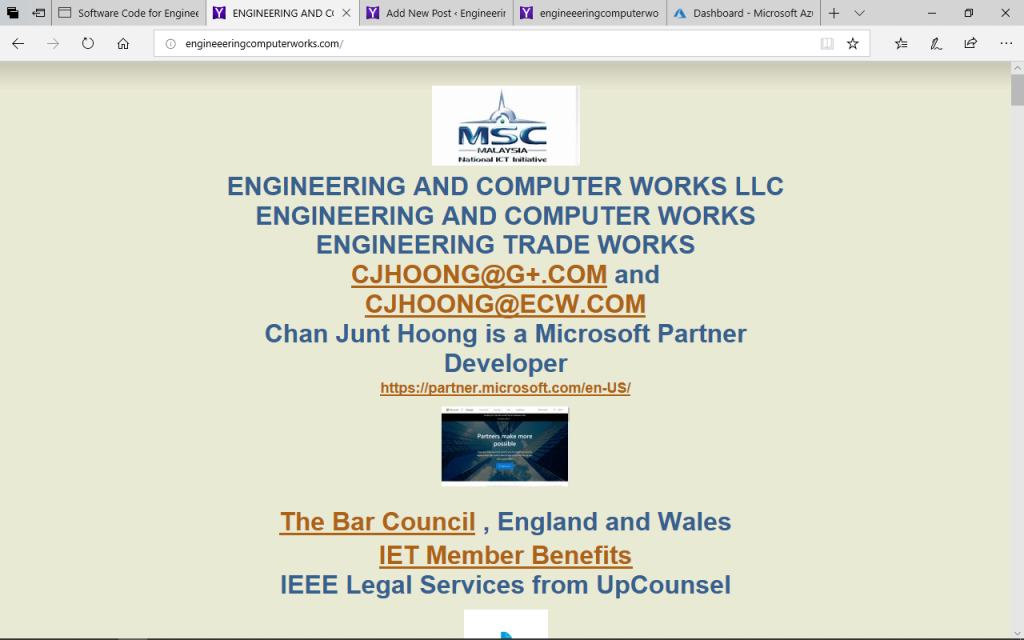 EngineeeringComputerWorks.com is a Malaysian company with the United States of America and is in Singapore , which is a First World country in South East Asia, in the Far East . EngineeeringComputerWorks.com is a Microsoft Partner and builds software and systems with Microsoft and Microchip . The company utilizes the Dot COM and is with the futuristic idea One America and the startup has been in innovated in Malaysia since Prof Dr Chan Junt Hoong FIET FIEEE BEng CEng graduation from the University of Birmingham , England . Published and Written by Professor Dr Chan Junt Hoong FIET FIEEE BEng CEng .
