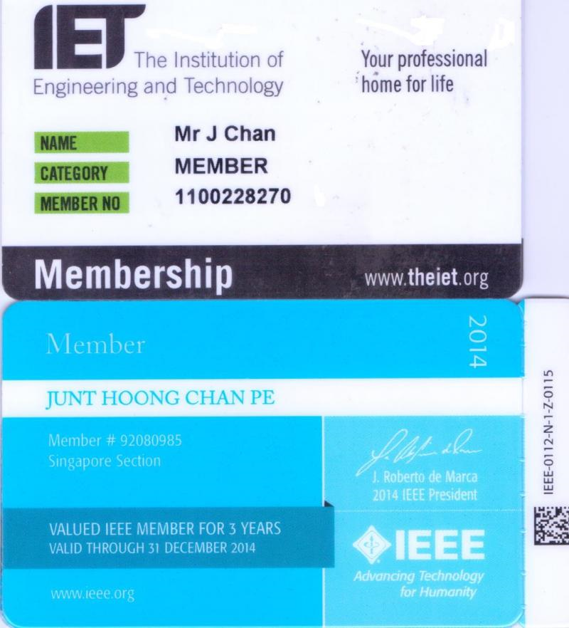 Professor Dr Chan Junt Hoong FIET FIEEE BEng CEng has his membership to the IEEE and IET continuing to the Year 2020 and further . Currently Prof Dr Chan Junt Hoong FIET FIEEE BEng CEng has received his membership card to the IEEE for the Year 2020 . Published by Professor Dr Chan Junt Hoong FIET FIEEE BEng CEng .
