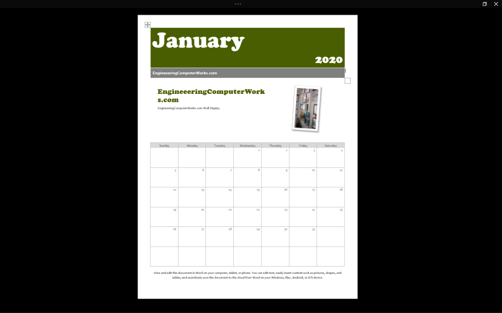 EngineeeringComputerWorks.com Calendar 2020 for the Coming New Year .