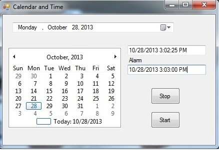 Calendar and Time and Alarm