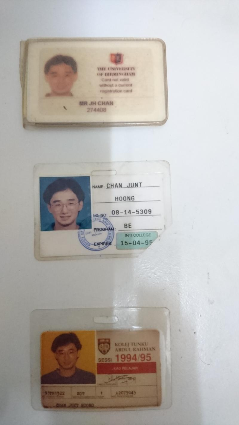 University of Birmingham ID Student Card and Inti and TAR College Student ID's.