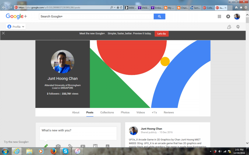 Google + page for Chan Junt Hoong MIET MIEEE CEng