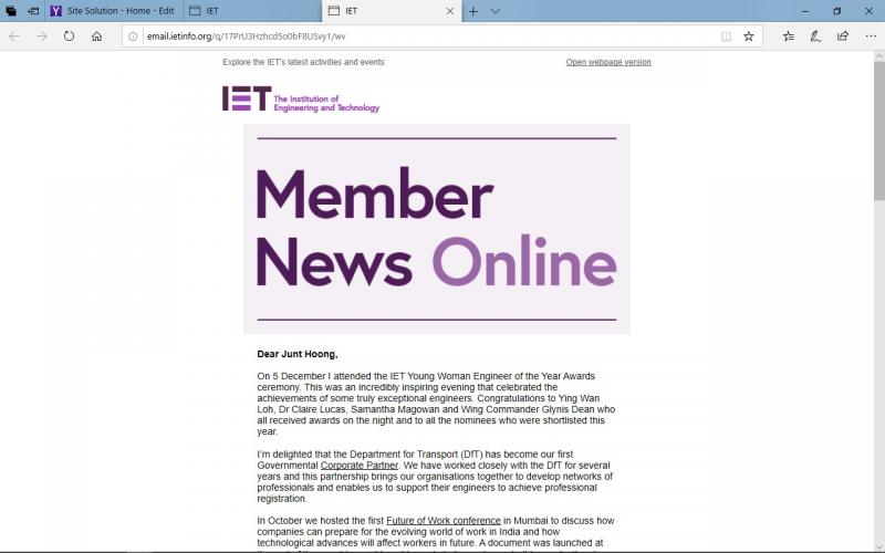 Warmest Greetings from the President of The IET for 2020 .