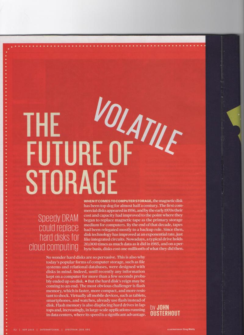 The Future of Volatile Memory published in IEEE SPECTRUM on November 201