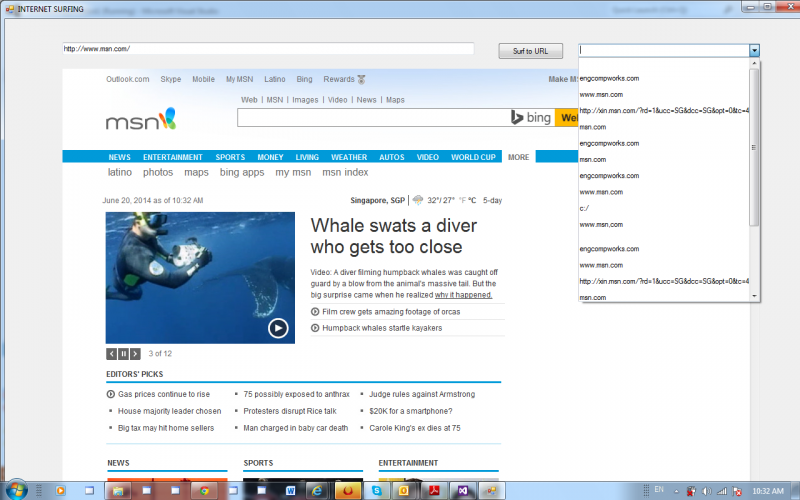 Internet Surfing Web Browser with Favourites