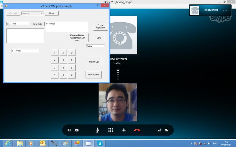 Skype Phone from control software with control system to mobile phone.