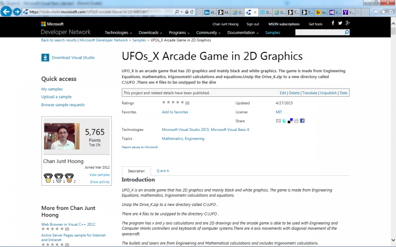 UFOs_X Arcade Game in 2D Graphics at Microsoft Developers Network Visual Studio