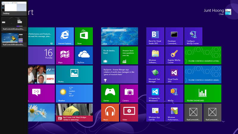 Windows 8 Taskbar with Telerik software applications